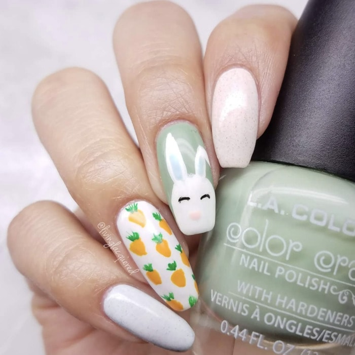 Spring Nails - Easter bunny with carrots