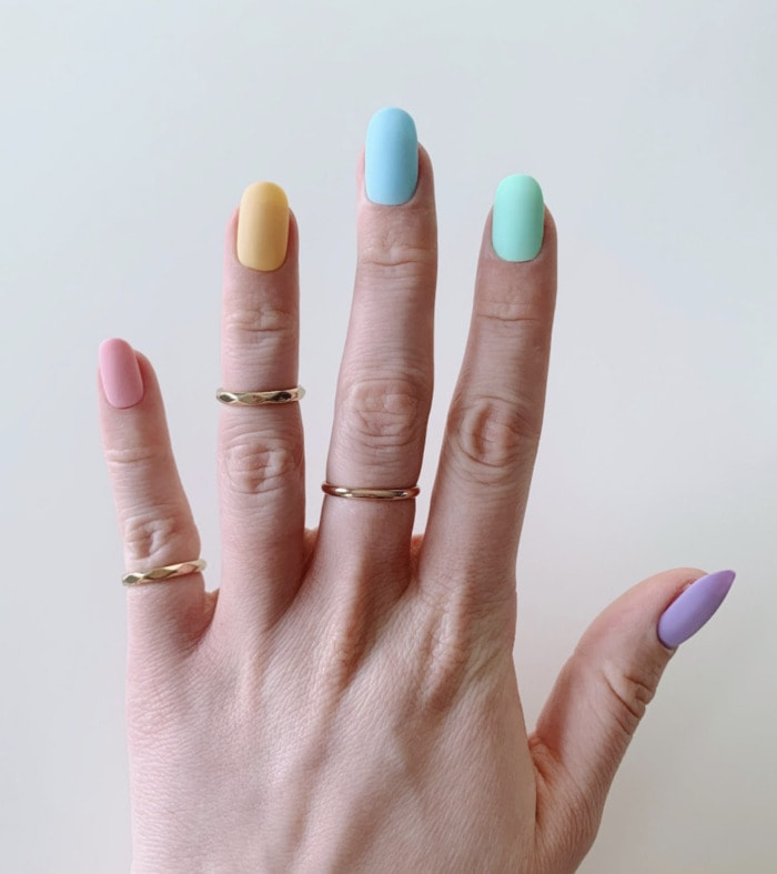 Spring Nails - Pastel egg colored Easter nails