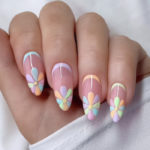 Spring Nails - flower power pastel rounded nail design