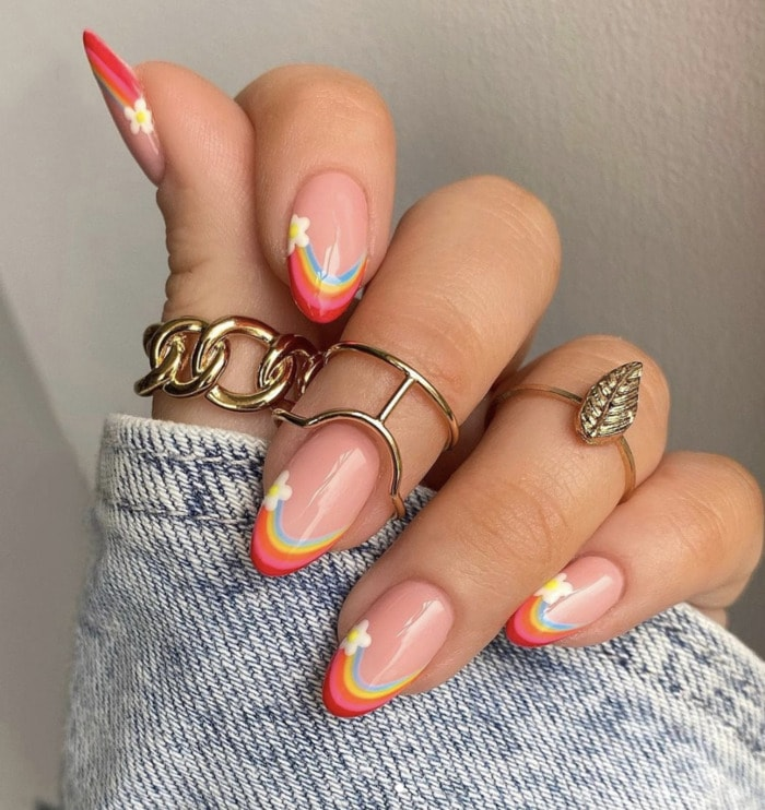 Spring Nails - over the rainbow tips