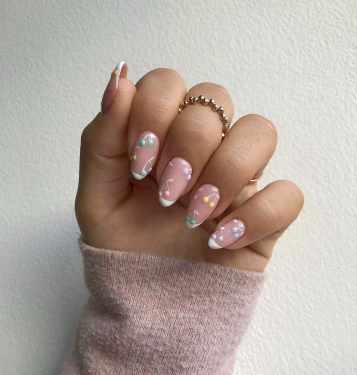 Spring Nails - colorful cherries rounded nails