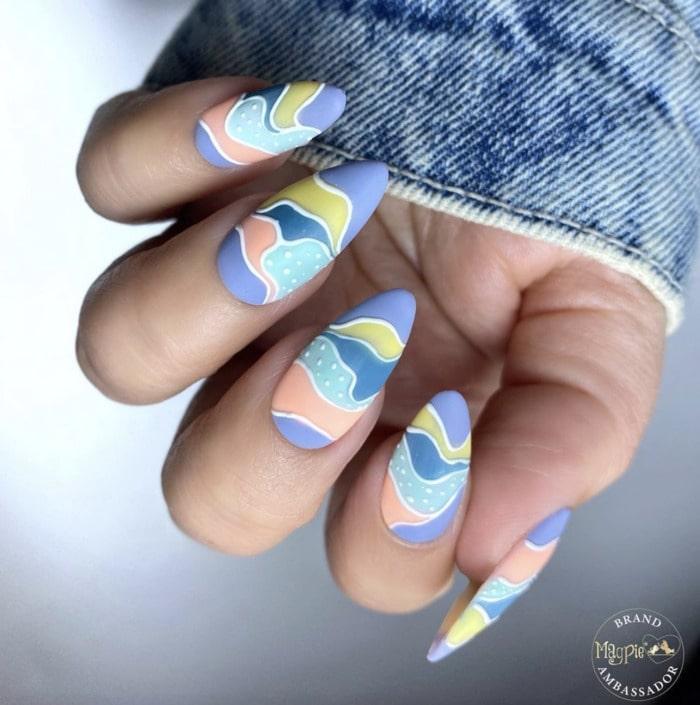 Spring Nails - blue pastel mountain design