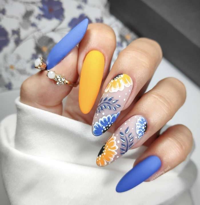 Spring Nails - blue and yellow floral long nails