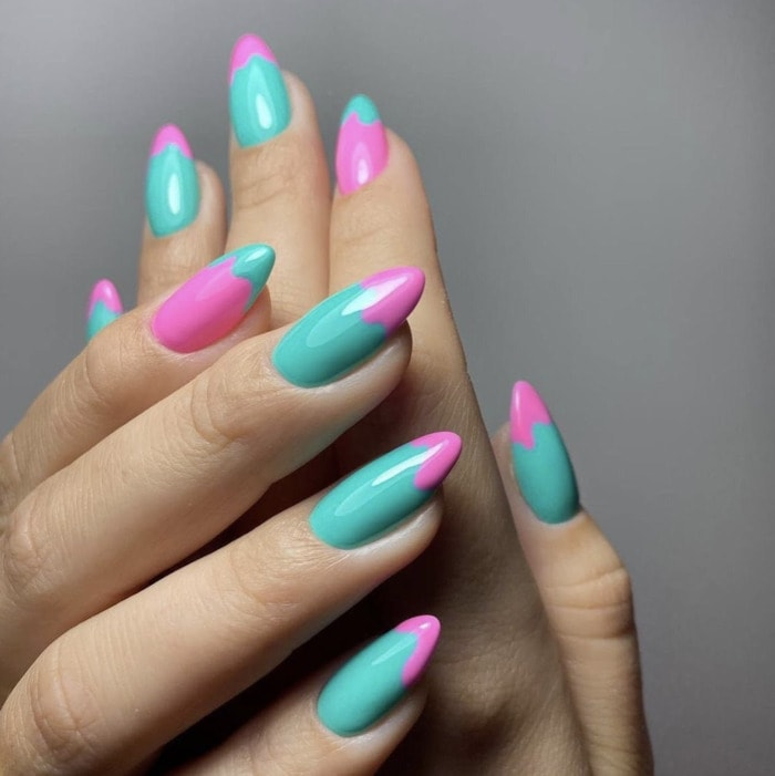 Spring Nails - retro teal and pink design