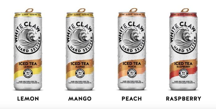 White Claw Iced Tea - four flavors mango peach lemon raspberry
