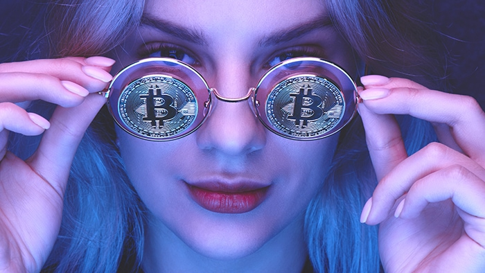 How to Buy Cryptocurrency - Woman with Bitcoin Glasses