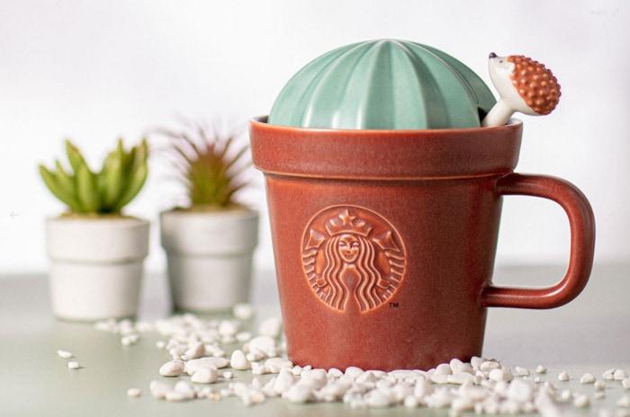 Starbucks Happy Hedgehog Collection - Cactus Mug wth Stirrer