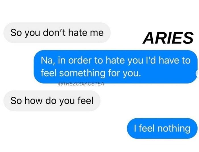 Aries Memes - I feel nothing