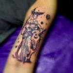 Taurus Tattoos - geometric bull with woman
