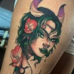 Taurus Tattoos - girl with horns