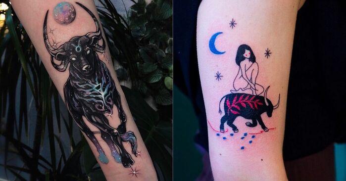 Taurus Tattoos - bull and nude woman