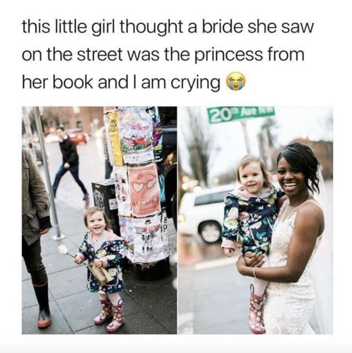 Wholesome Memes - Little girl thought bride was princess