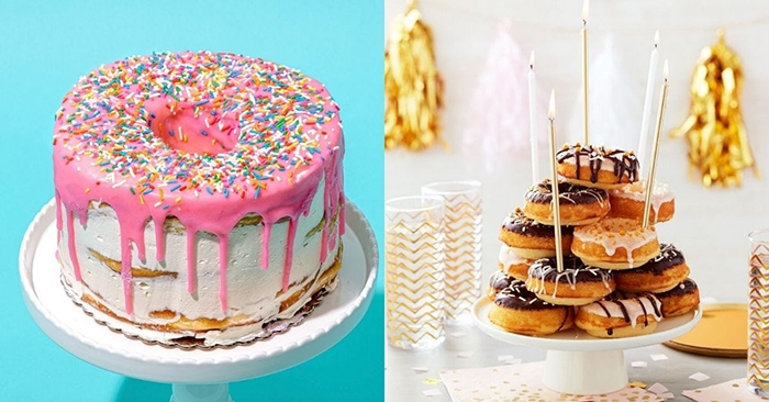 Donut Cakes - Pink Homer Simposn and Wilton Gold Cake