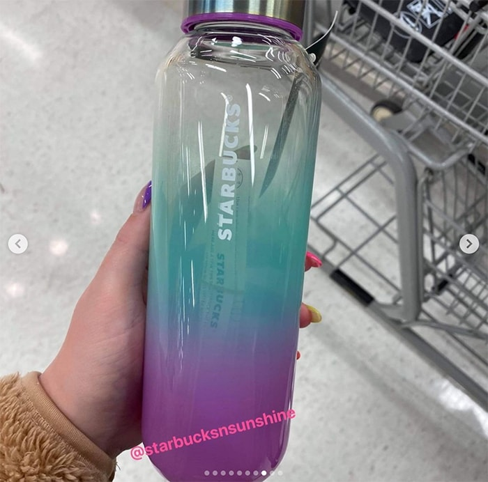 Starbucks Summer Cups 2021 - Purple Green Glass Water Bottle