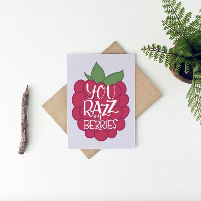 Berry Puns - you razz my berries card