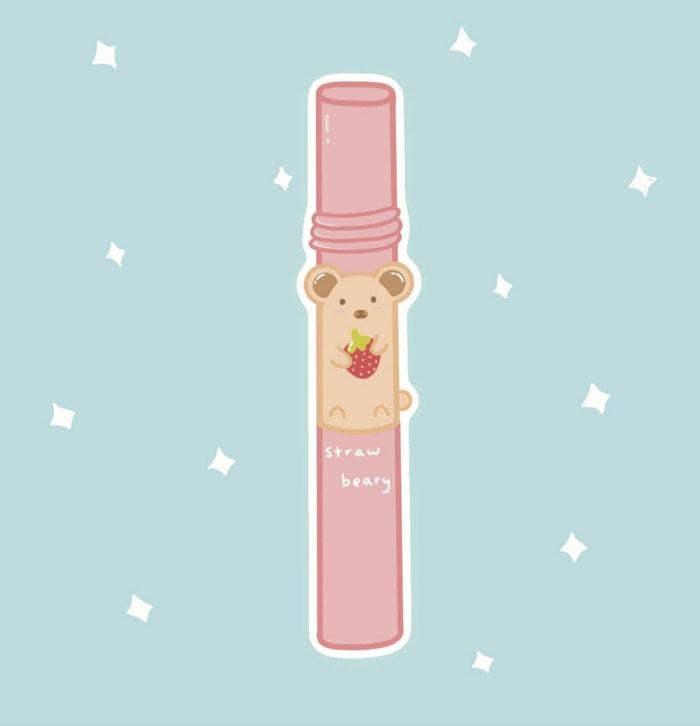 Berry Puns - straw beary sticker