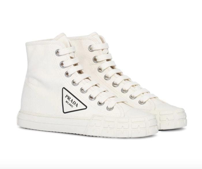 Cool Sneakers for Women - Prada logo high-top sneakers