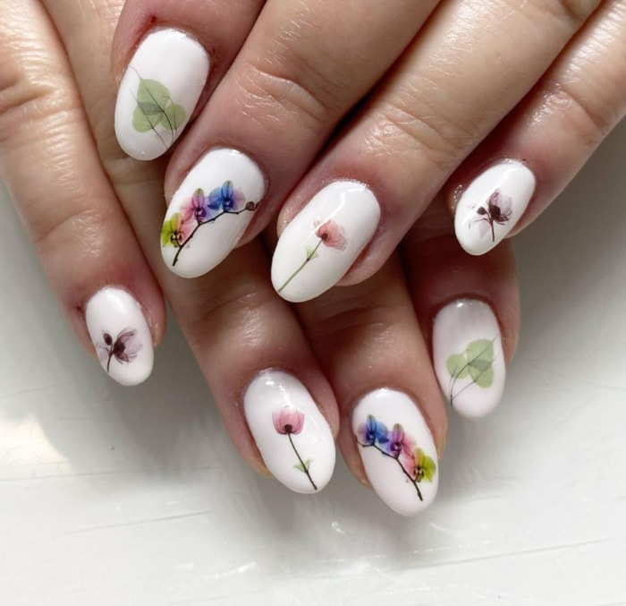 Nail Designs - white floral decals