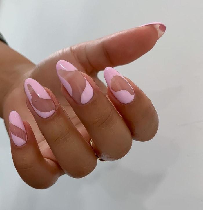 Nail Designs - negative space pink nails