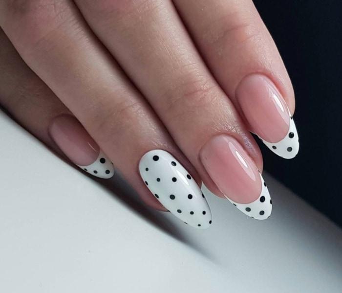 Nail Designs - polka dot tips