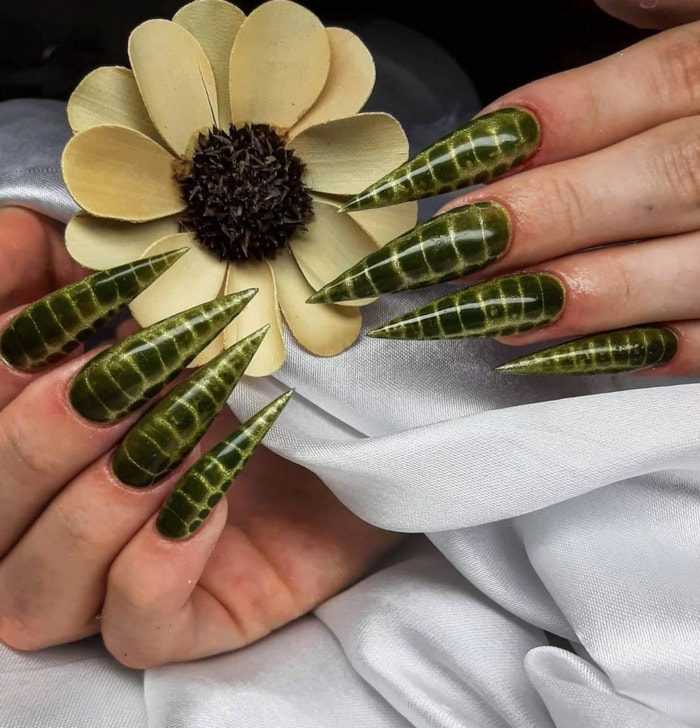 Nail Designs - snake print stiletto nails