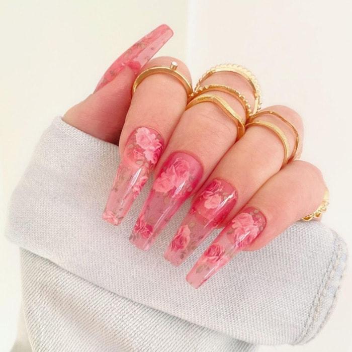 Nail Shapes - coffin ballerina nails floral