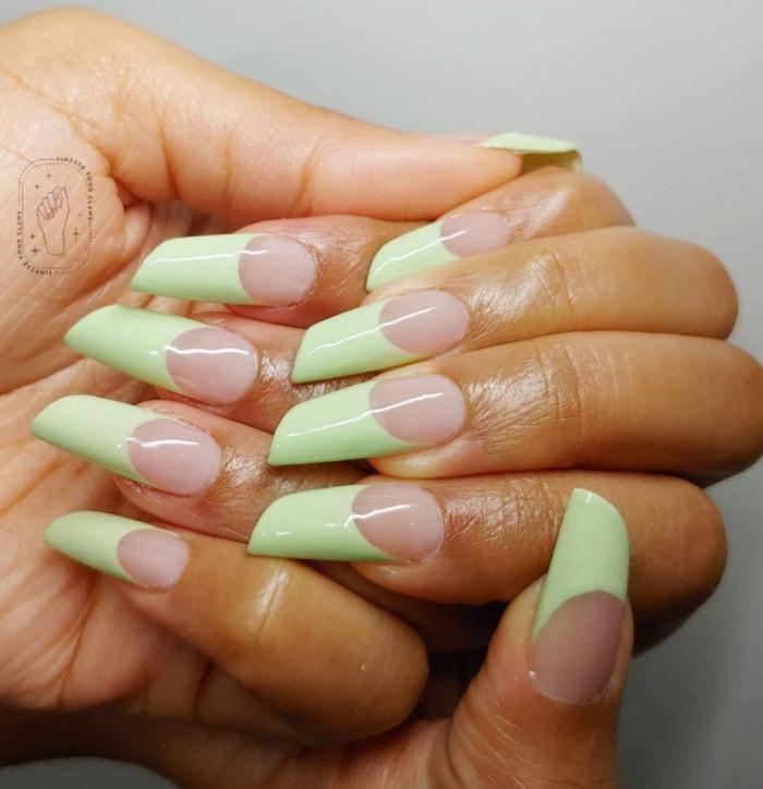Nail Shapes - lipstick nails green