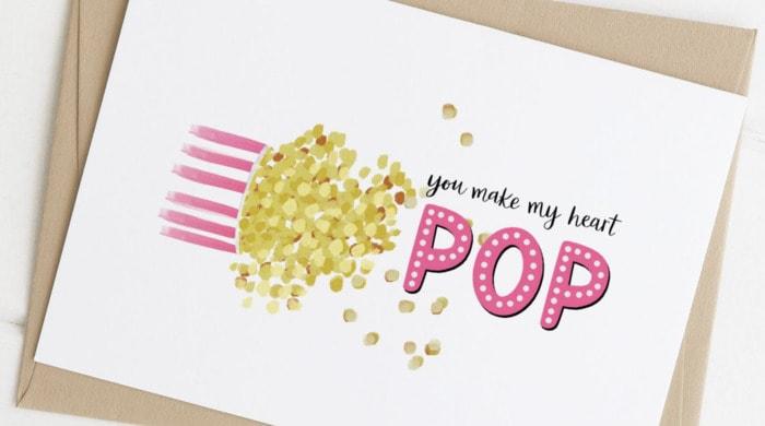 Popcorn Puns - you make my heart pop card