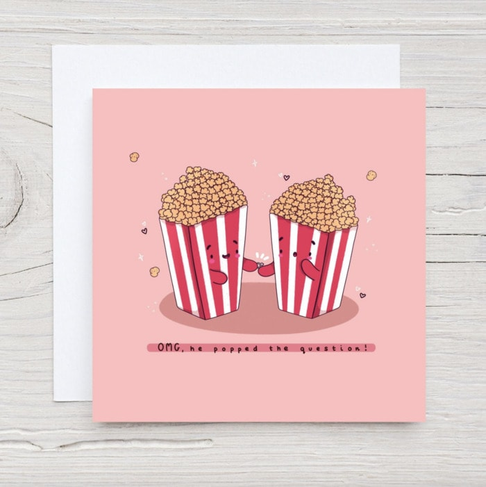Popcorn Puns - he popped the question