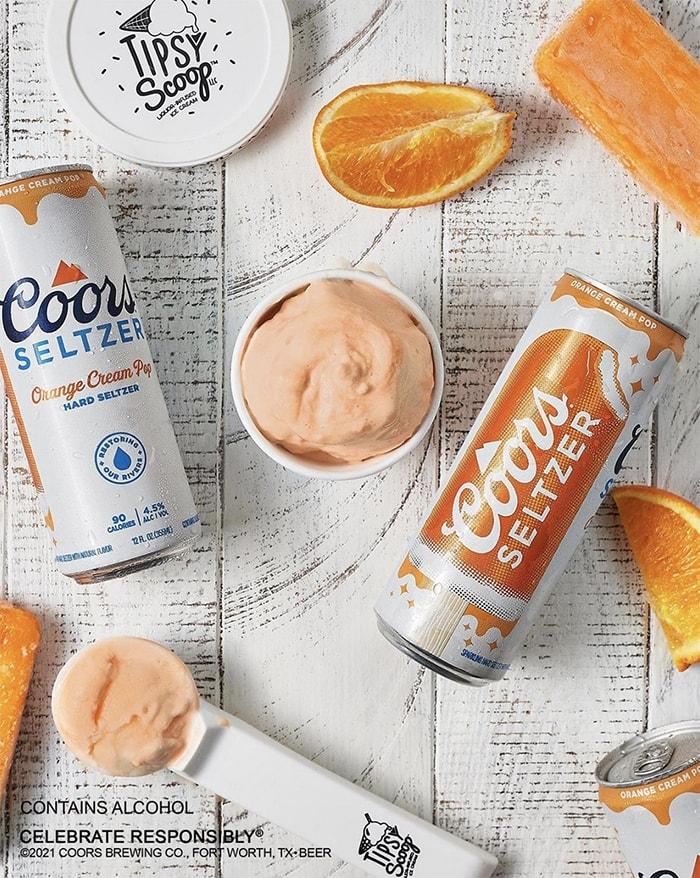 Coors Seltzer Orange Cream Pop Ice Cream