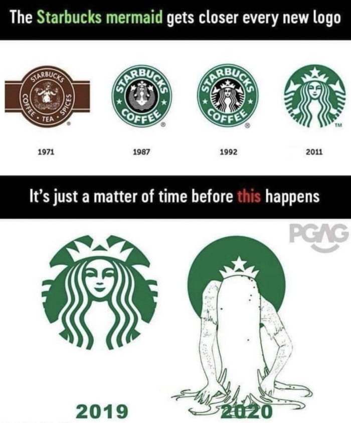 Starbucks Memes Tweets - mermaid logo evolution