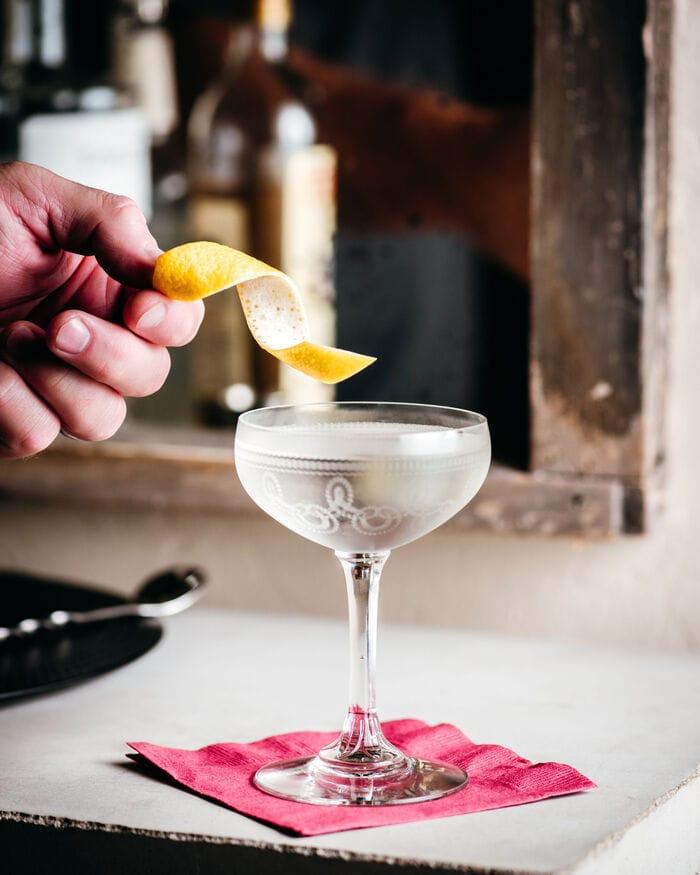 Vesper Cocktail - lemon garnish