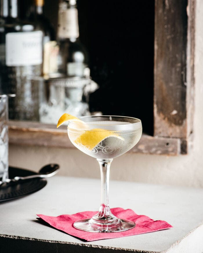 Vesper Cocktail on napkin