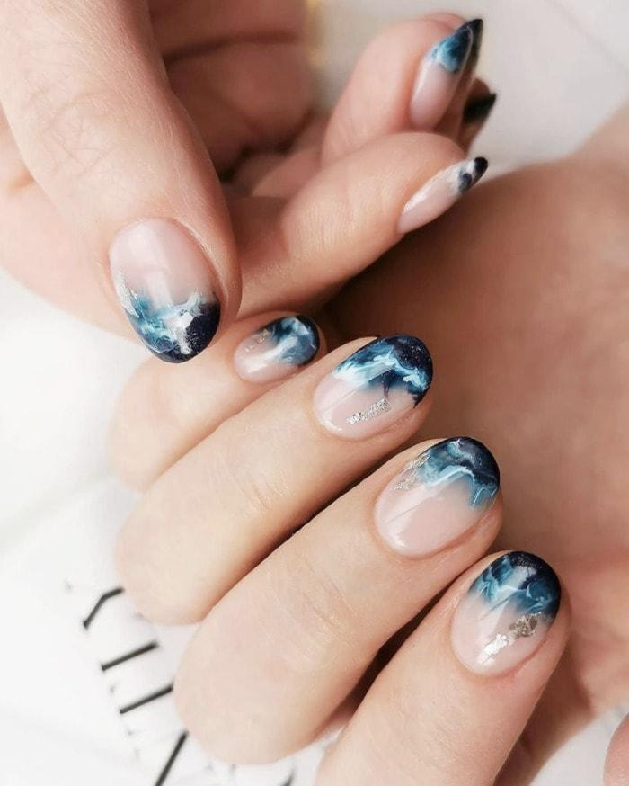 Beach Nail Art - ocean wave tips