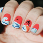Beach Nail Art - palm tree sunset scene