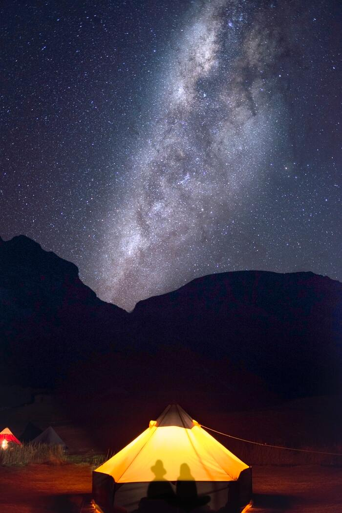Camping Sex - lit up tent at night