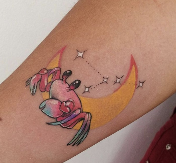 Cancer Zodiac Tattoo - Pastel Crab with Moon