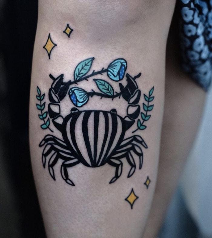 Cancer Zodiac Tattoo - Striped Crab Tat