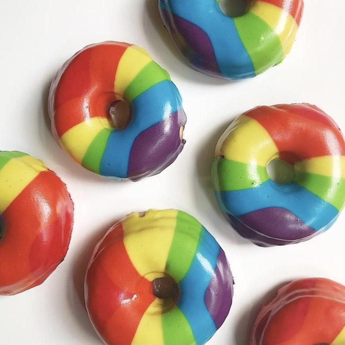Rainbow Donuts - Vegan Rainbow Glazed