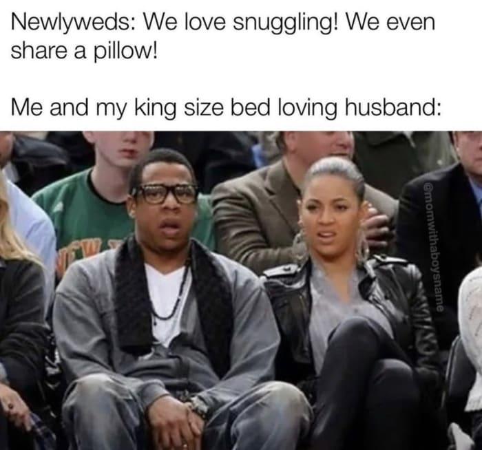 Relationship Memes - sharing a pillow