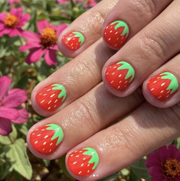 Summer Nail Designs - strawberry nails