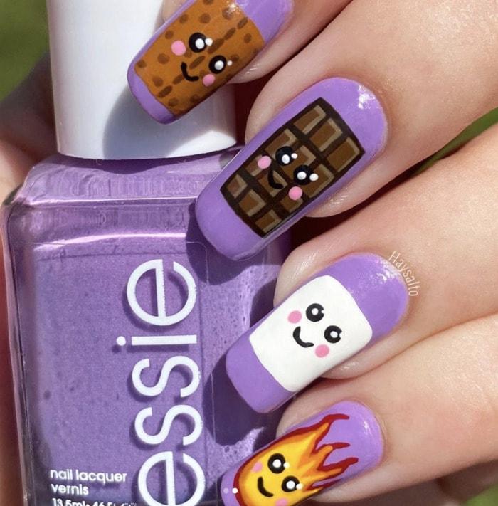Summer Nail Designs - smores nails