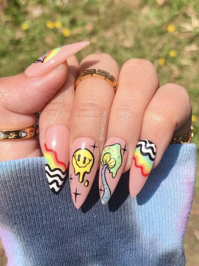 Summer Nail Designs - psychadelic nails
