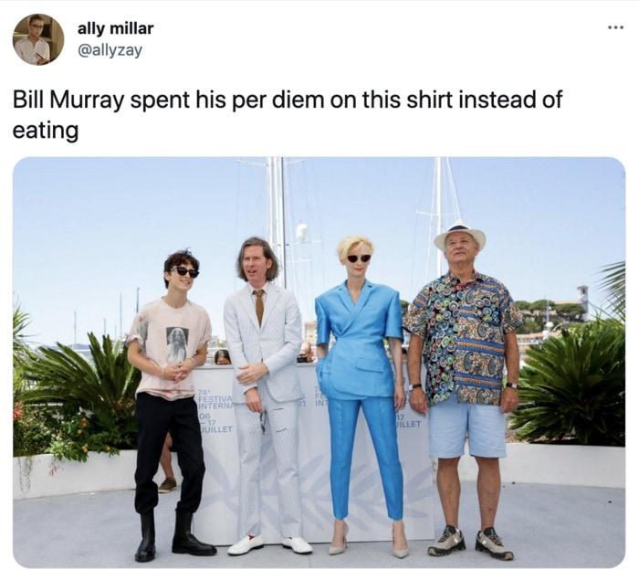 Bill Murray Photo Cannes - dan flashes shirt