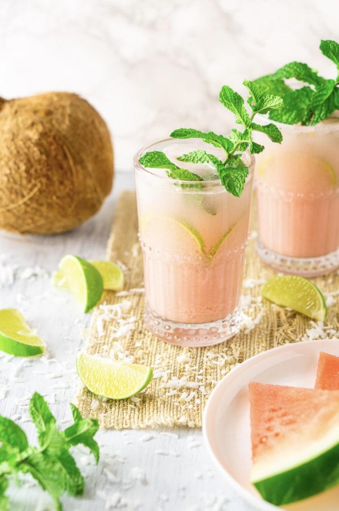 Coconut Rum Cocktails - Watermelon Mojito