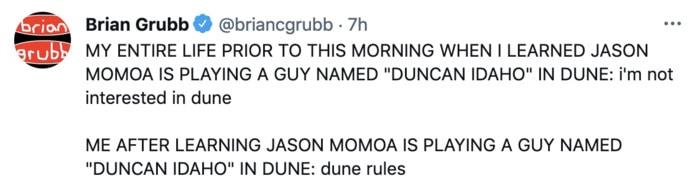 Dune Poster Tweets - Jason Momoa Duncan Idaho