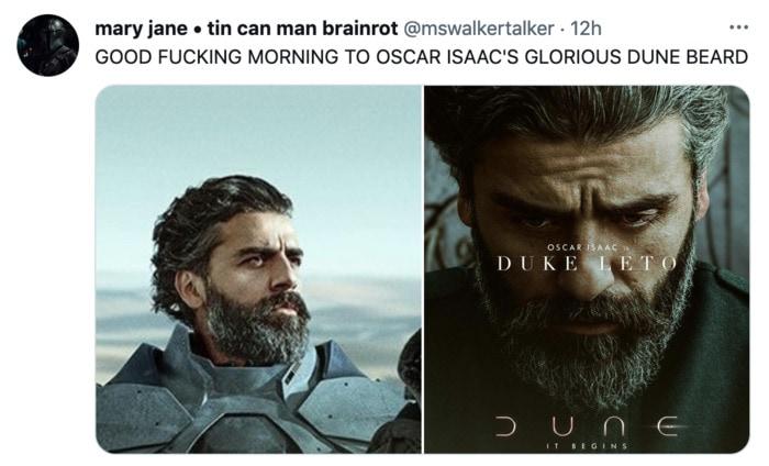 Dune Poster Tweets - Good Morning Oscar Isaac Beard