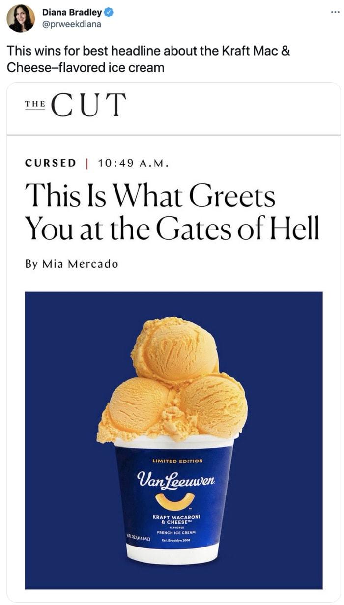 Kraft Mac and Cheese Ice Cream - the cut