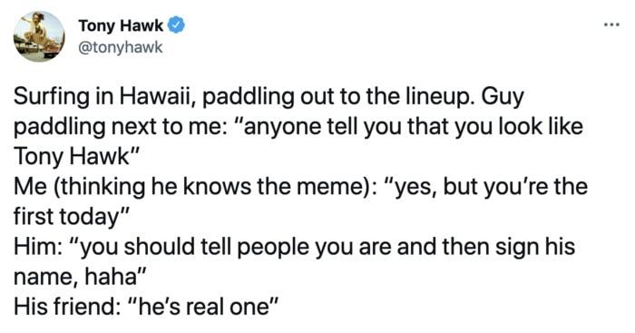 Tony Hawk Tweets - meme