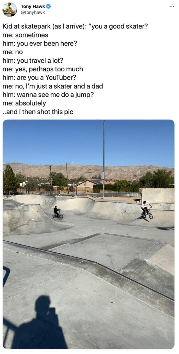 Tony Hawk Tweets - skatepark